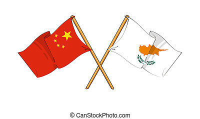 China and Cyprus alliance and friendship - cartoon-like ...