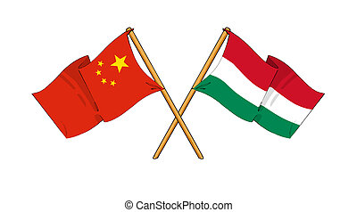 China and Hungary alliance and friendship - cartoon-like...