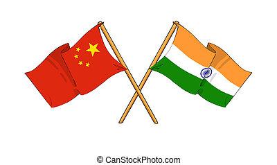 China and India alliance and friendship - cartoon-like...