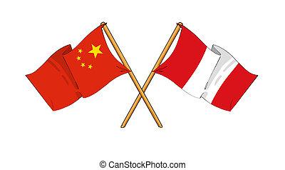 China and Peru alliance and friendship - cartoon-like...