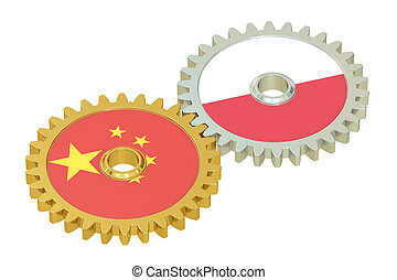 China and Poland flags on a gears, 3D rendering