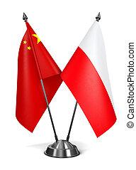 China and Poland - Miniature Flags.