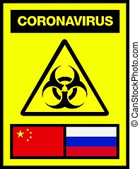 China and Russia Novel Coronavirus, 2019-nCoV, Biohazard Poster. Attention Sticker. News Headline.