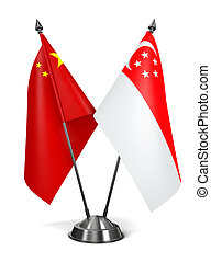 China and Singapore - Miniature Flags. - China and Singapore...