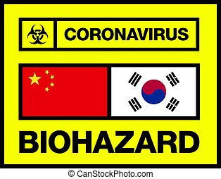 China and South Korea Novel Coronavirus, 2019-nCoV, Biohazard Poster. Attention Sticker. News Headline.