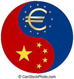 China and the Euro crisis - Symbol to display the dependency...