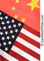 China and USA Flag