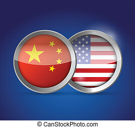 china and usa illustration design over a blue background