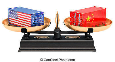 China and USA trade balance concept, 3D rendering