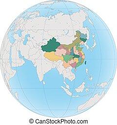 china, asia oriental, globo, país