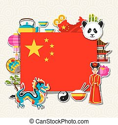 China background design. Chinese sticker symbols and objects