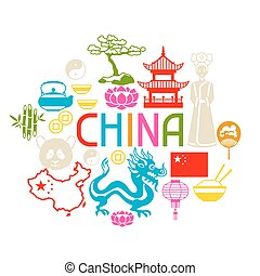 China background design. Chinese symbols and objects