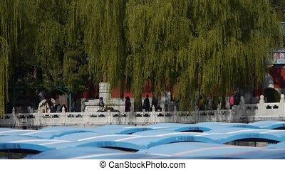 China Beijing ancient architecture Beihai Park white tower...