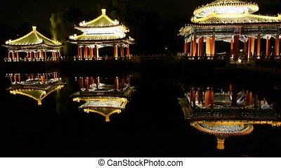 China Beijing ancient Chinese architecture pavilions reflection in pool water.