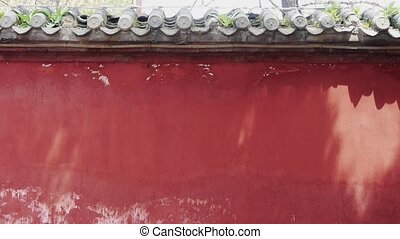 China BeiJing red wall & shadow.Eaves tile.