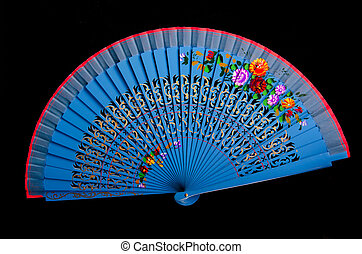China blue hand fan isolated on black