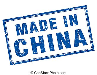 China blue square grunge made in stamp