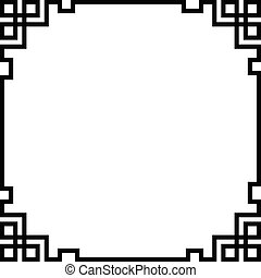china border frame, black vector