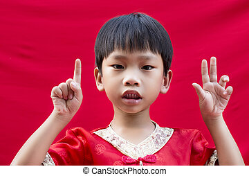 China boy in traditional chinese red tang suit greeting stock image china boy in traditional chinese red tang suit greeting m4hsunfo
