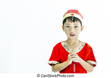 China boy in traditional chinese red tang suit greeting picture china boy in traditional chinese red tang suit greeting m4hsunfo