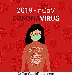 china., brote, vector, coronavirus, ilustración, máscara, ...