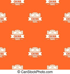 China building pattern vector orange