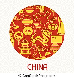 China card design. Chinese symbols and objects