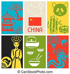 China cards design. Chinese symbols and objects