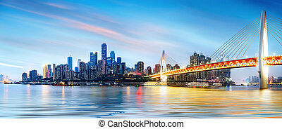 China Chongqing City Lights - cityscape and skyline of...