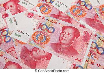 china, cien dólar, billete de banco, uno