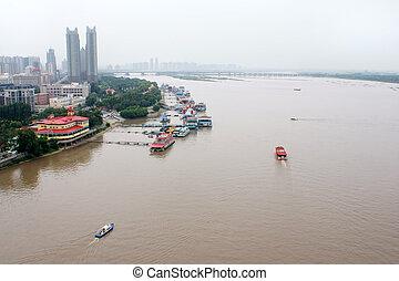 china., cima, songhua, harbin, vista., río