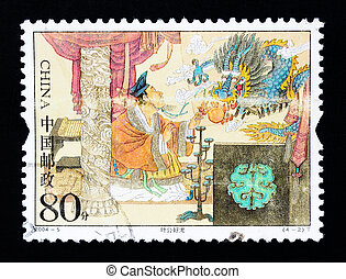 CHINA - CIRCA 2004: A Stamp printed in China shows the historic story of Lord Ye's love of dragons , circa 2004
