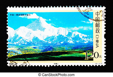CHINA - CIRCA 2007: A Stamp printed in China shows Mount GONGGA in Sichuan China, circa 2007