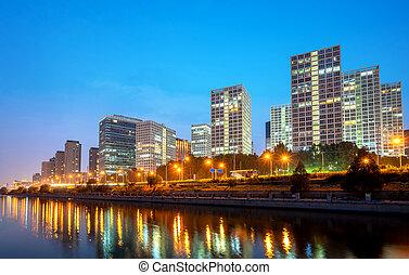 china, ciudad, beijing, skyline., cbd