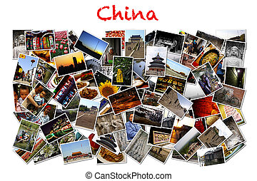 China concept collage, nature, city and human.