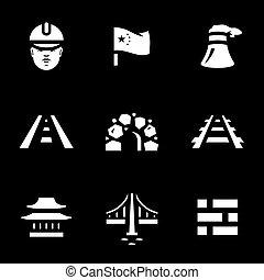 china, construção, vetorial, jogo, icons.