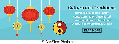 China culture and traditions banner horizontal concept