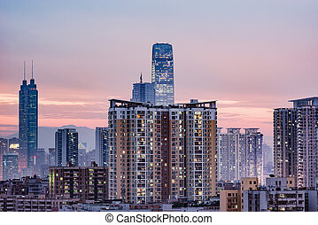 china., district, vue, shenzhen., ville, soir, time.