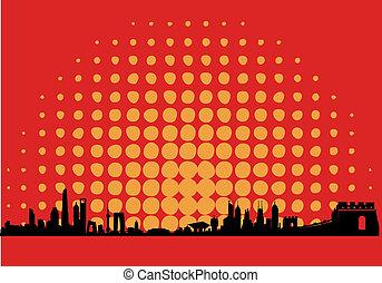 China Dot Sun Skyline - Great Mainland China Dot Sun Map...