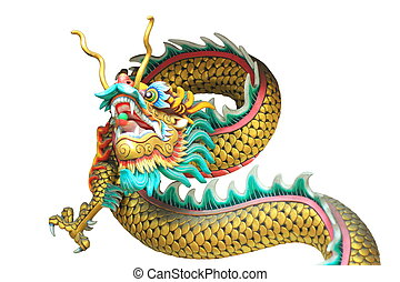 china dragon head and body statue isolated on white background