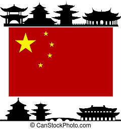 China - National Flag and the outline of buildings and...