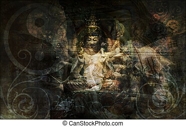 China Abstract Art Buddha as a Background