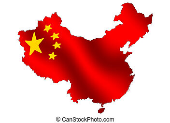 China - Outline of china, filled with its waving flag