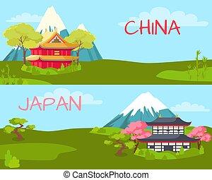 china, e, japan., paisagem, caricatura, ilustração