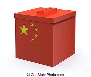 China election ballot box, 3d illustration