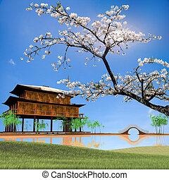 china, estilo, quadro, paisagem