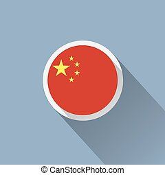 China Flag Button Icon