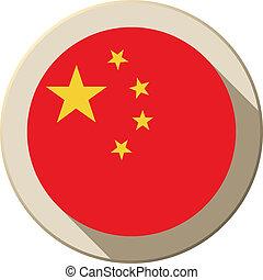 China Flag Button Icon Modern