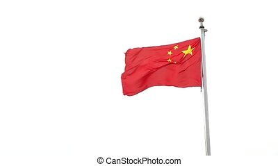 china flag flying in the air.