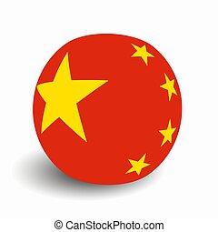 China Flag Globe Vector on white background.